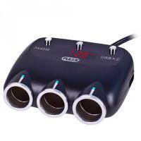 Разветвитель прикуривателя PULSO 3 выхода + 2USB 2400 mA 12/24V SC-3003 провод+вольтметр