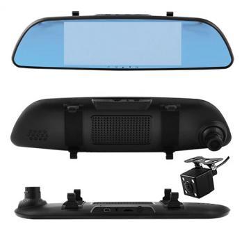 Автомобильный видеорегистратор-зеркало L-9002,4,3'', 2 камеры,1080P FullHD 48286