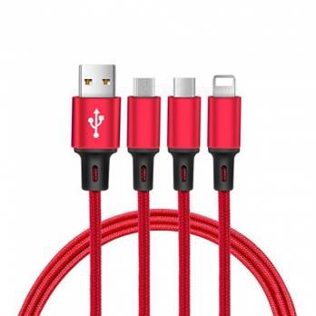 Кабель 3 в 1 USB - Micro USB/Apple/Type C (Red)