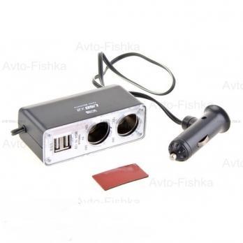 Разветвитель прикуривателя PULSO 2 выхода + 2 USB (1000 mA) /предохр. (WF-0030)