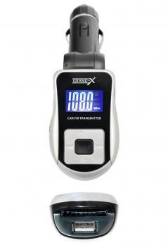 FM-трансмиттер Grand-X CUFM75GRX, AUX, USB 0.5A, SD card, 3.5mm mini-jack