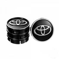 Заглушка колесного диска Toyota 60x55  черный ABS пластик (4шт.)колпачки