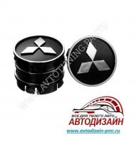 Заглушка колесного диска Mitsubishi 60x55  черный ABS пластик (4шт.)