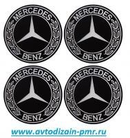"""Наклейки на колпаки, диам. 90 мм """"Mercedes-Benz"""" черные с колоском (4 шт) (D)"""