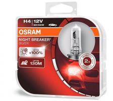Лампа Osram 64193NBS-HCB  H4 12V 60/55W P43T Night Breaker Silver +100% (2шт)